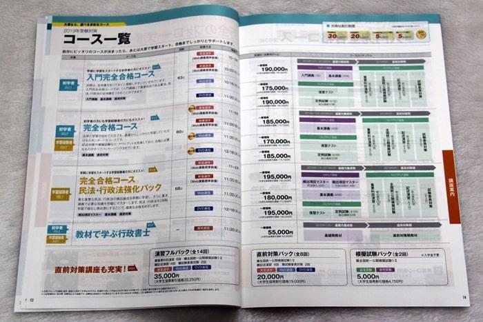 大原の行政書士講座のコース一覧資料