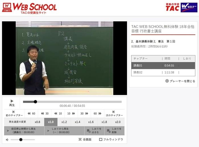 行政書士講座「TAC WEB SCHOOL」PC版